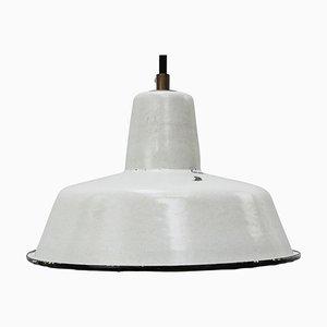 Lampe à Suspension d'Usine Vintage Industrielle en Émail Gris Clair