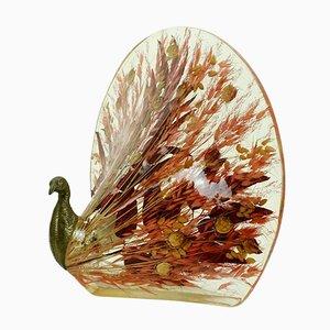 Peacock Tischlampe aus Messing & Harz mit echten Blättern & Gräsern, 1970er