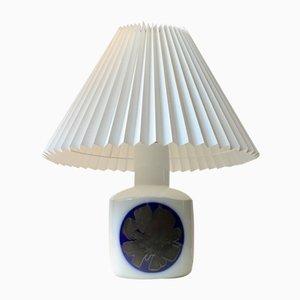Modernistische Porzellan Tischlampe mit Blauer Dekoration von Bing & Grøndahl, 1970er