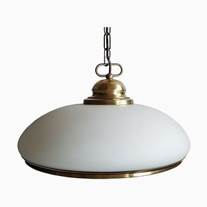 Mid-Century Brass and Glass Pendant Lamp