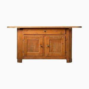 Swedish Folk Art Rustic Pine Low Sideboard