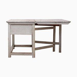 Swedish Gustavian Drop Leaf Table in Light Grey