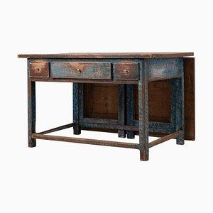 19th Century Swedish Folk Art Blue Work Table