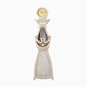 White Swedish Empire Long Case Clock