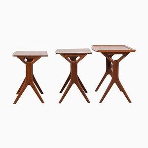 Tables Gigognes en Teck par Johannes Andersen pour Silkeborg, Set de 3