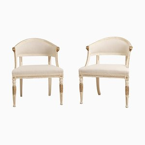 19th Century Swedish Barrel Back Armchairs, Set of 2