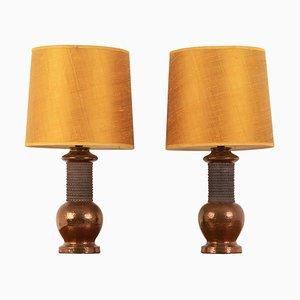 Mid-Century Italian Bitossi Copper Lamps, Set of 2