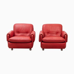 Lombardia Red Leather Armchairs by Risto Holme for IKEA, Set of 2