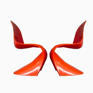 Orange Chairs by Verner Panton for Herman Miller, 1968, Set of 2