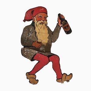 Panneau Publicitaire Santa en Bois de Tuborg