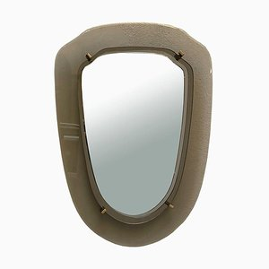 Smoked Gray Beveled Crystal Wall Shield Mirror in the style of Fontana Arte, Italy, 1960s