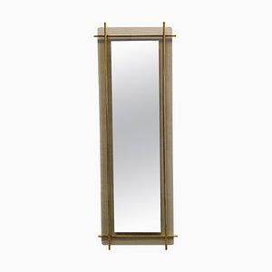 Brass and Smoked Glass Wall Mirror by Renato Zevi, Italy, 1960s