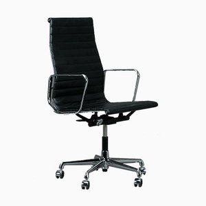 Model Ea 119 Black Aluminum Swivel Chair by Charles & Ray Eames for Vitra