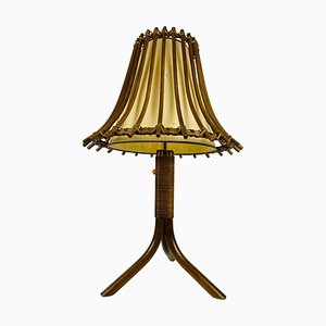 Mid-Century Teak and Rattan Table Lamp, 1970s