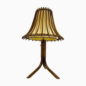 Mid-Century Tischlampe aus Teak & Rattan, 1970er