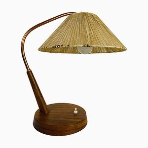 Mid-Century Teak and Rattan Table Lamp from Temde, 1970s