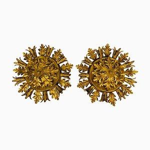 Golden Florentine Flower Shaped Flush Mounts from Banci, Italy, 1970s, Set of 2