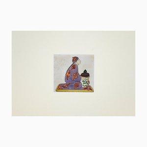 Tintero desconocido de porcelana, dibujo original de acuarela y tinta, década de 1890