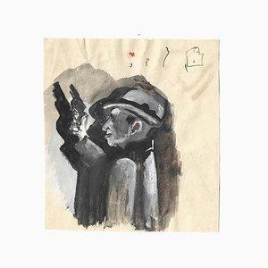 Mino Maccari, A Gangster, Original Aquarell auf Papier, 1970er