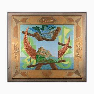 Leo Guida, Italienische Landschaft mit Signalen, Original Öl auf Leinwand, 1984