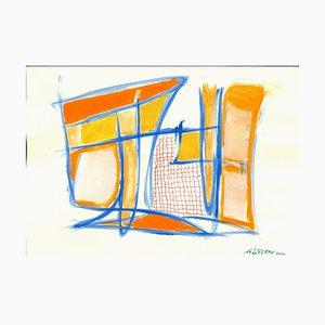 Giorgio Lo Fermo, Blue Lines, Original Tempera and Watercolor, 2020