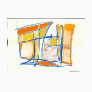 Giorgio Lo Fermo, Blue Lines, Original Tempera and Watercolour, 2020