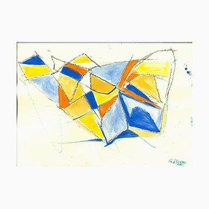 Giorgio Lo Fermo, Blue Shapes, Original Tempera and Watercolor, 2020