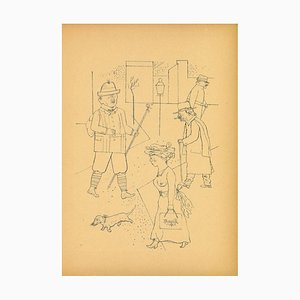 George Grosz, Greeting, Original Offset and Lithograph, 1923