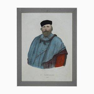 Unknown, Portrait of Garibaldi, Originale Lithographie, 19. Jahrhundert