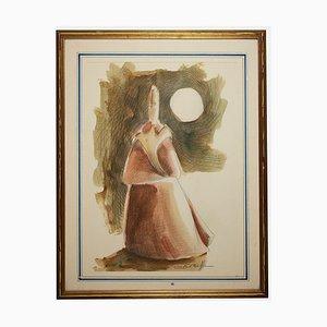 Sconosciuto, The Cardinal, Original Pencil and Watercolor Drawing, Late 20th Century