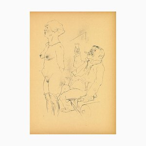 George Grosz, Undressing, Original Offset and Lithograph, 1923