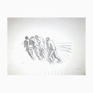 Pietro Morando, Oxen Men, Original Lithograph, 1950s