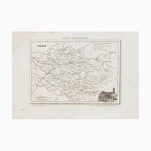 Map of Tarn, Original Lithograph, 19th Century