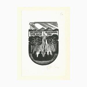 Ex Libris Vasknarvas, Original Holzschnitt, Mitte des 20. Jahrhunderts