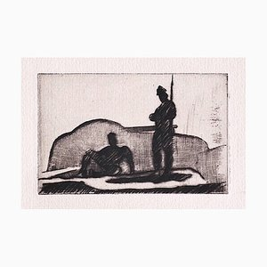 Anselmo Bucci, Military, Original Etching on Paper, 1909