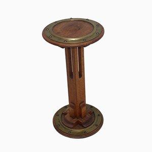Art Deco Oak & Brass Side Table