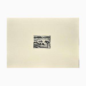 Nazareno Gattamelata, Tiere in der Koppel, Original Radierung auf Papier, 1985