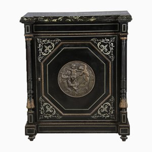 Black Cupboard with Bronze Application Pewter Inlays, 19th Century