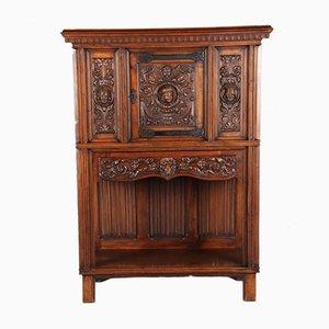 Antique Cabinet with Renaissance Style Fascia & Lion Carvings, 1900s