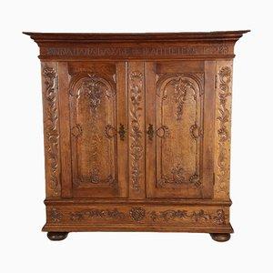 Mueble barroco de roble tallado, 1723