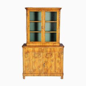 Biedermeier Cabinet in Glass & Walnut, 19th Century