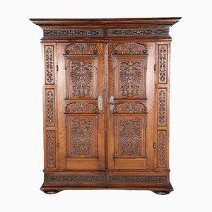 Renaissance or Early Baroque Austrian Cabinet with Double-Headed Eagle Decoration in Walnut, 17th Century