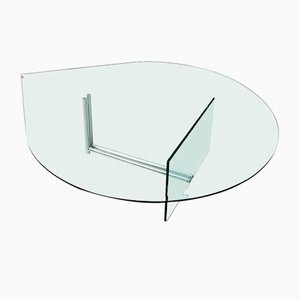 Vintage Curved Clear Glass & Chrome Carrè Coffee Table by Cattelan Italia, 2000