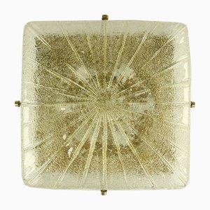 XL Mid-Century Austrian Square Glass VTG Flush Mount from Kalmar