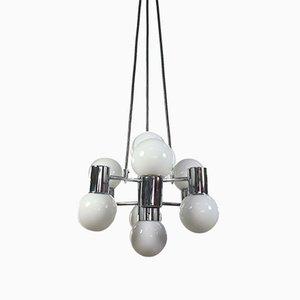 Lampe à Suspension Mid-Century en Chrome et Verre de Doria Leuchten