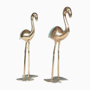 Big Mid-Century Brass Flamingo Sculptures, 1960s, Set of 2