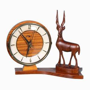 Vintage Decorative Clock with Deer Sculpture in Teak, 1960s