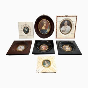 Antike Miniatur Portraits, 7er Set