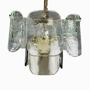 Lampada a sospensione in vetro di Murano ghiacciato di Carlo Nason per Mazzega, Italia, anni '60