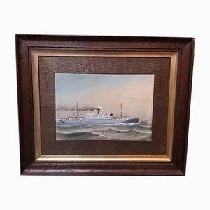 The SS Highland Laddie, Gouache Début 19ème Siècle par C. Cowland